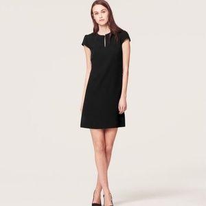 LOFT Laser Cut Flower Collar Black Dress